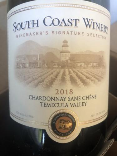 South Coast Winery - Chardonnay Sans Chêne - 2018