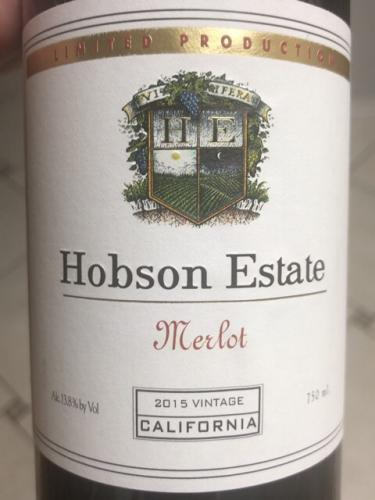 Hobson Estate - Merlot - 2015
