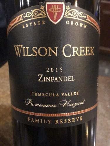 Wilson Creek - Family Reserve Promenance Vineyard Zinfandel - 2015